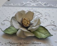 Selma's Stamping Corner: Build A Flower Magnolia Tutorial  Pear Shaped Petals and Sun Punch for the Center of the Flower.