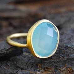 Aqua Chalcedony Gold Semi Precious Ring