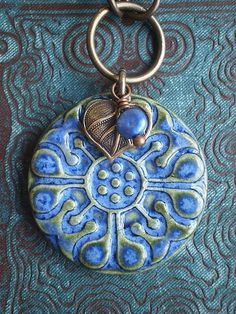 Summer Denim Ceramic Necklace by TheJunquerie on Etsy