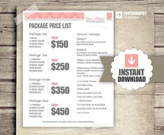 Photography Package Pricing  Photographer by StudioTwentyNine, $12.00