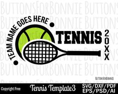 Editable Tennis Team Template Perfect for designing t-shirts, hats, and more! Your purchase includes T Shirt Printing Company, Tennis Shirts, Team Shirts, Team Names, Tennis Players, Personal Branding, Tennis Racket, School Design, Sport