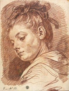 Head of a young woman - Jean Baptiste Greuze Greuze is certainly one of the best draftsmen that have ever existed, his mastery of sketching is unbelievable. Take a look at all his sketches. Interesting books about him: Greuze the Draftsman Drawing Heads, Life Drawing, Figure Drawing, Drawing Sketches, Pencil Drawings, Painting & Drawing, Art Drawings, Sketching, Horse Drawings