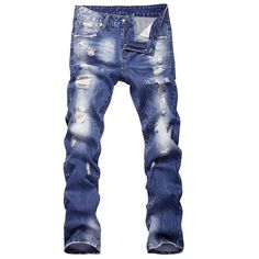 Men's Hole Patch Beggars Slim Denim Straight Jeans