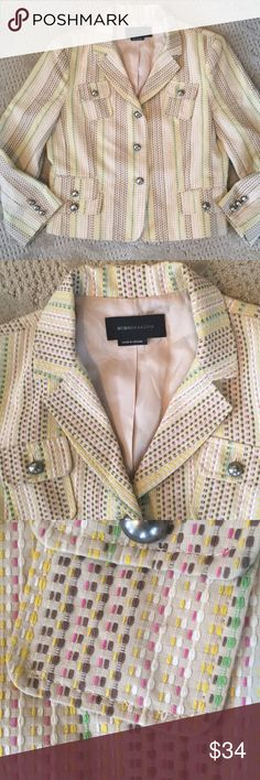 BCBG blazer EUC. Lined. Tan background color with yellow, green, pink and brown. No size tag but would guess it fits like an Ann Taylor 4. Hits below the waist BCBGMaxAzria Jackets & Coats Blazers