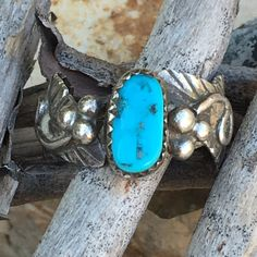 Signed Navajo Sterling Silver & Turquoise Ring - Yourgreatfinds, Vintage Jewelry - 1