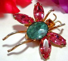 Coro Brooch Pin Butterfly Bug Figural Pink by BrightgemsTreasures, $24.50
