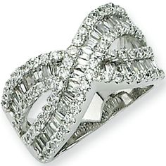 Sterling Silver Criss Cross Cubic Zirconia Ring by Cheryl M