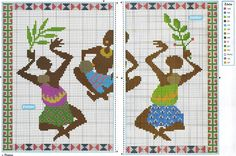 0 point de croix 3 femmes africaines avec feuilles - cross stitch 3 african women with leaves African Women, African Art, Tapestry Crochet Patterns, Charts And Graphs, Beaded Bracelet Patterns, African Design, Le Point, Birthday Presents, Needlepoint