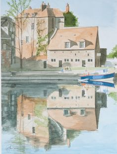 Honfleur, Normandy | Graham Thomas Watercolours    The detail in the reflection!