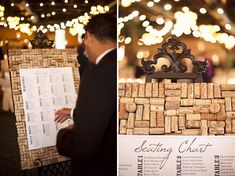 Wedding reception seating chart (instead of place cards) on a home made wine cork board.