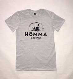 Homma is Oklahoma's leading purveyor of the camp lifestyle. They bring the magic of sleeping under the stars within reach for folks that don't necessarily have the time or gear for DIY camping.  Show your love for Oklahoma and camp life with this comfy new shirt. Printed in Tulsa on Anvil lightweight cotton/poly blend jersey tees.
