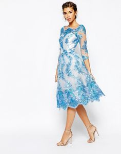 Image 1 of Chi Chi London Premium Lace Midi Prom Dress With Bardot Neck And 3/4 Sleeve