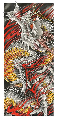 RU - Draw of the Orient - Dragon RU - Draw of the Orient - Dragon (Prints) Traditional Japanese Tattoo Flash, Traditional Japanese Dragon, Japanese Drawings, Japanese Dragon Tattoos, Japanese Tattoo Art, Japanese Tattoo Designs, Japanese Pheonix Tattoo, Dragon Tattoo Chest, Dragon Tattoo Sketch
