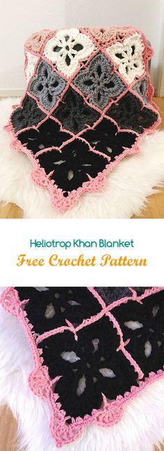Heliotrop Khan Blanket Free Crochet Pattern #crochet #yarn #crafts #style #home #homedecor