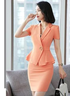Formal Uniform Styles Blazers Suits Two Piece With Tops Skirt Ladies Office Work Wear Professional Summer Blazer Sets Size S Color Orange Classy Dress, Classy Outfits, Elegantes Business Outfit, Suits For Women, Clothes For Women, Work Clothes, Look Blazer, Office Outfits, Office Uniform