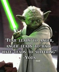 "'Fear leads to anger, anger leads to hate, hate leads to suffering "" -Yoda Star Wars Film, Star Wars Poster, Star Wars Art, Yoda Quotes, Movie Quotes, Life Quotes, Geek Quotes, Wisdom Quotes, Fear Leads To Anger"