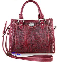 New Montana West Concealed Carry, Messenger Tote w/ Tooled Leather front - Red #MontanaWest #MessengerCrossBody