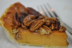 best southern pecan pie with honey pecan topping with pumpkin pie