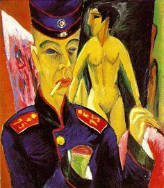 군인으로써의 자화상 (Self-Portrait as a Soldier, 1915) / Ernst Ludwig Kirchner / 군인이자 야수파/표현주의 화가였던 Kirchner의 자화상. 신경쇠약으로 군대에서 제대한 해 그려진 자화상으로 오른쪽 손목을 절단한 모습으로 표현되었다. 이 잘려진 손목은 그의 상실감을 표현한 듯 하다. 1937년 나치는 그의 작품을 퇴폐 예술로 낙인찍었고 그는 자살을 하게 된다.