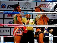 Muay Thai (Thai: มวยไทย, RTGS: Muai Thai, IPA: [mūɛj tʰāj]) is a combat sport from the muay martial arts of Thailand that uses stand-up striking along with various clinching techniques