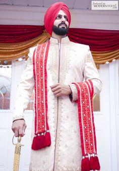 Red Sikh Wedding South Asian Groom Turban- more inspiration @ http://www.ModernRani.com