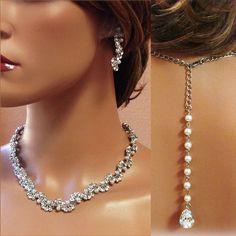 HANDMADE rhinestone pearl back drop statement necklace earrings bracelet jewelry