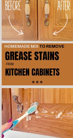 Grease stains on kitchen cabinets are very hard to remove, especially if they are old! You would better change the cabinets than clean them, because grease, when it's dried, it becomes sticky and i… Car Cleaning Hacks, Deep Cleaning Tips, Toilet Cleaning, House Cleaning Tips, Cleaning Solutions, Spring Cleaning, Kitchen Cleaning, How To Clean Kitchen Cabinets, Staining Kitchen Cabinets