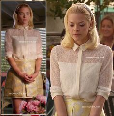 Lemon Breeland's white lace shirt and yellow peplum skirt on Hart of Dixie  Outfit details:    Top: Lace overlay shirt by Erin Fetherston (SS 2012 Collection)