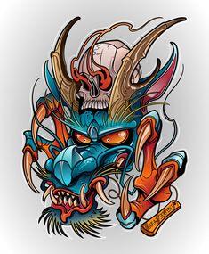 Japanese Dragon Demon With Human Skull Sketch Tattoo Design, Tattoo Sketches, Tattoo Drawings, Body Art Tattoos, Sleeve Tattoos, Small Tattoos, Hannya Tattoo, 4 Tattoo, Japanese Tattoo Art