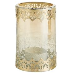 Lace Trim Amber Luster Tealight Holder