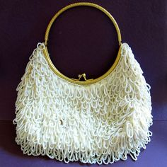 Crescent Department Store Vintage White Beaded Loops Purse