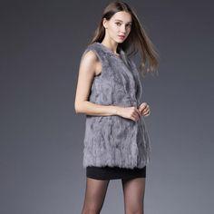 Winter Autumn Rabbit Fur Vest Fashion Real Fur Coats For Women Brand Sale Female Natural Fur Vest Out Wear High Quality QS-61