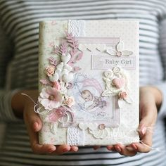 ScrapTherapy by Evgenia Petzer: Again, a lot of work and love for the notebook :) Scrapbook Bebe, Baby Girl Scrapbook, Scrapbook Cover, Scrapbook Journal, Mini Albums Scrap, Mini Scrapbook Albums, Foto Memory, Photo Album Covers, Baby Record Book