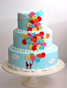 Balloon Decorated Cake. - Click image to find more Food & Drink Pinterest pins