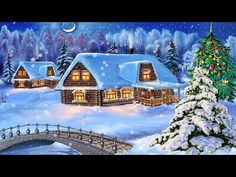 Snowy Christmas Night Decoration with Christmas Tree Wallpaper Cabin Christmas, Christmas Night, Christmas Scenes, Christmas Music, Christmas Playlist, Christmas Pillow, Christmas 2015, Country Christmas, Merry Christmas Pictures