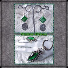 Sterling zilveren hanger en oorhangers met obsidiaan, parels en zilverdruse