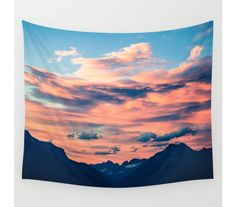 Wall Tapestry, Mountain Tapestry, Wall Hanging, Mountain Sunset Clouds Sky, Nature Wall Art, Large Photo Wall Art,Modern Tapestry,Home Decor