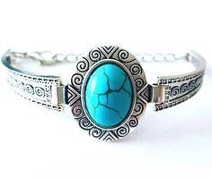 Pulseira folheada a prata com pedra howlita azul turquesa - oval