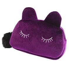 #Storage Material: Flannel, Alloy, Real Fur; #Size: 19cm x 5cm x 12cm/7.48 x 1.97 x 4.72 (Approx.);Lovely #cosmetic makeup storage bag;It can help you to store a l...