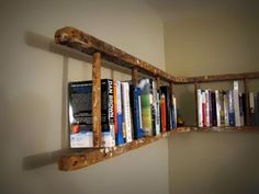 Old wood ladder converted to a corner shelf