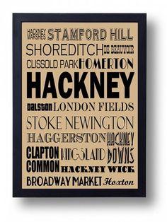 Hackney London Dalston Stoke Newington Shoreditch by indieprints, $15.00