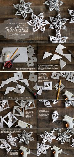 Paper Snowflake free diy tutorial - Christmas ornaments, winter and holiday decor. Fun craft for older kids on a snow day! Let them Color the paper first or add glitter or rhinestones!