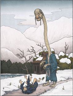Miage-Nyudo- Japanese folklore: a yokai or monster that grows in size when looking up. They grow so fast a viewer would fall down backwards if they kept looking at it while it grew.