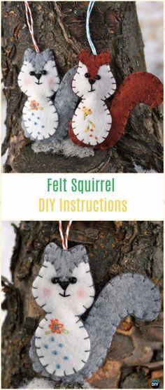 DIY Felt Squirrel Ornament Instructions - DIY Felt Christmas Ornament Craft Projects [Picture Instructions]