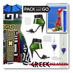 """Pack and Go: Greek Islands (1)"" by emhenry ❤ liked on Polyvore featuring Versace, Lazuli and Kim Kwang"
