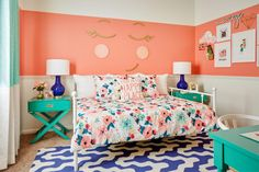 My Three Favorite Color Schemes for a Girl's Bedroom. coral and teal girls bedroom. My three favorite color schemes for a girl's bedroom! The reason I love these color schemes so much is that they can be used for any age. Check them out! Coral Girls Rooms, Teen Bedroom Colors, Teenage Girl Bedroom Designs, Girls Room Design, Teenage Girl Bedrooms, Bedroom Ideas, Girl Rooms, Coral Walls Bedroom, Design Girl