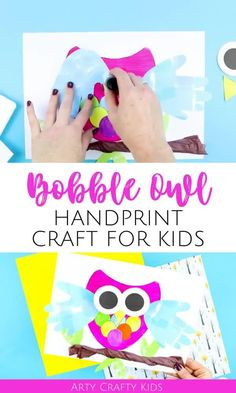 Looking for an owl handprint craft for kids to make at preschool or at home? This 3D bobble head, preschool owl handprint craft for kids is perfect for Mothers Day or Father's Day with its bright spring colors   our printable craft template. Get printables   videos for these easy owl crafts for kids to make here! | DIY Owl Crafts for Preschoolers Ideas | Spring Kids Crafts | Animal Crafts for Kids | Mothers Day Crafts for Kids #OwlCrafts #HandprintCrafts #KidsCrafts #MothersDay #AnimalCrafts