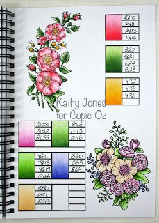 Copic Marker Color Palette For lovely flowers. It tells you what Copic Marker Pens to use. Perfect for beginners! Copic Marker Art, Copic Pens, Copic Art, Copic Sketch, Copics, Scrapbooking Technique, Copic Markers Tutorial, Copic Ciao, Spectrum Noir Markers