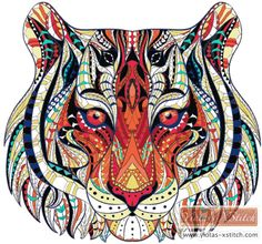 Abstract tiger cross stitch | Yiotas XStitch