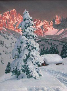 View of Rosengarten in South Tirol by Alois Arnegger Austrian Artist  By lilikk